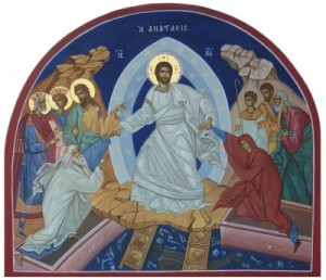 Icône de la résurrection de Jésus-Christ qui délivre Adam Et Ève des enfers