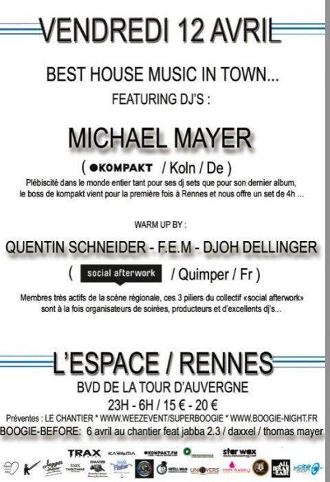 Soirée Super Boogie : Michael Mayer & Social Afterwork à l'Espace Club de Rennes