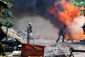 Des centaines de maisons ont été incendiées ce week-end, lors d'affrontements religieux entre les bouddhistes rakhines et les musulmans rohingyas.Crédits photo : STAFF/Reuters