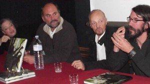 C. Glot, Y. Boëlle, A. Stivell, T. Jolif, lors de la présentation du livre au château de Comper le 12 octobre 2013 (photo : H. Glot)