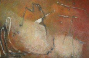 Paul Quéré : Rose météore, Huile sur carton, 120 X 80