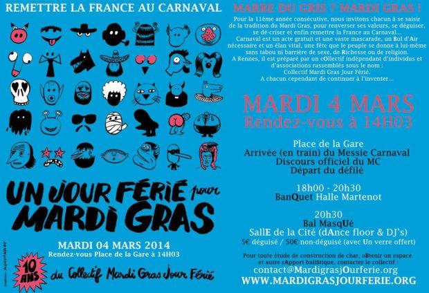 carnaval, mardi gras, jour férie, rennes,