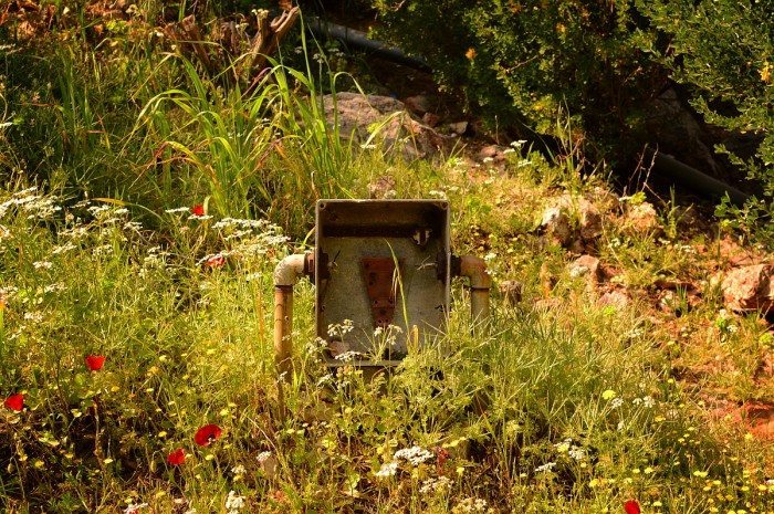 Boîte de maintenance vide, sur la colline Philoppapos