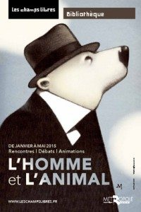 homme animal champs libres
