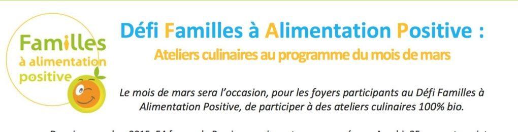 Défi Familles à Alimentation Positive : Ateliers culinaires