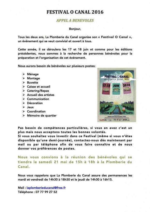 Appel à bénévoles pour le festival O Canal 2016