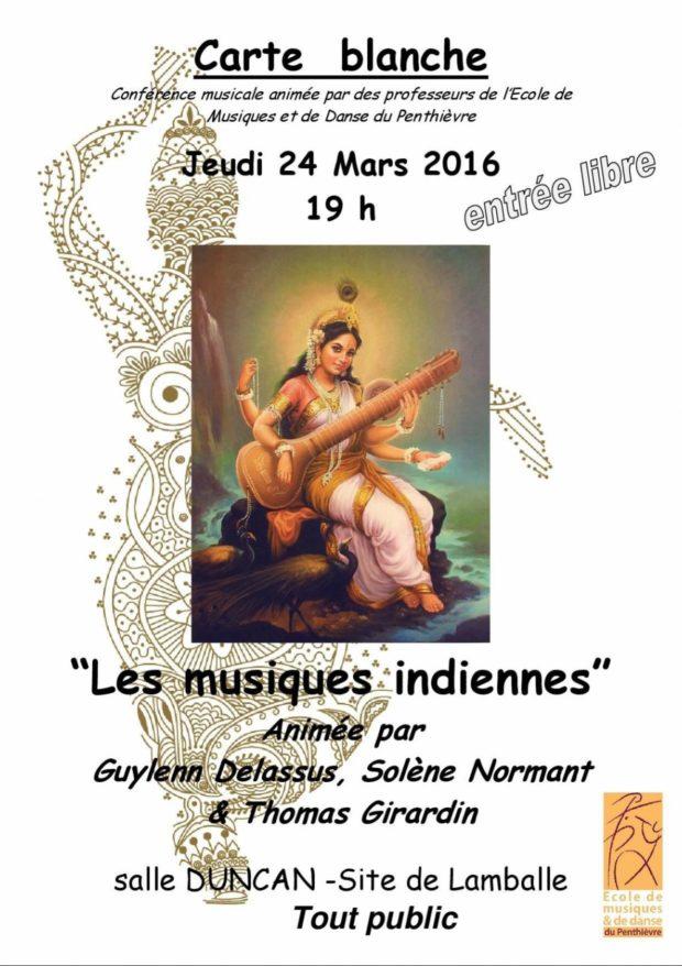 Carte blanche, Les musiques indiennes Lamballe