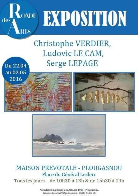 Exposition : Christophe Verdier, Serge Lepage, Ludovic Le Cam Plougasnou