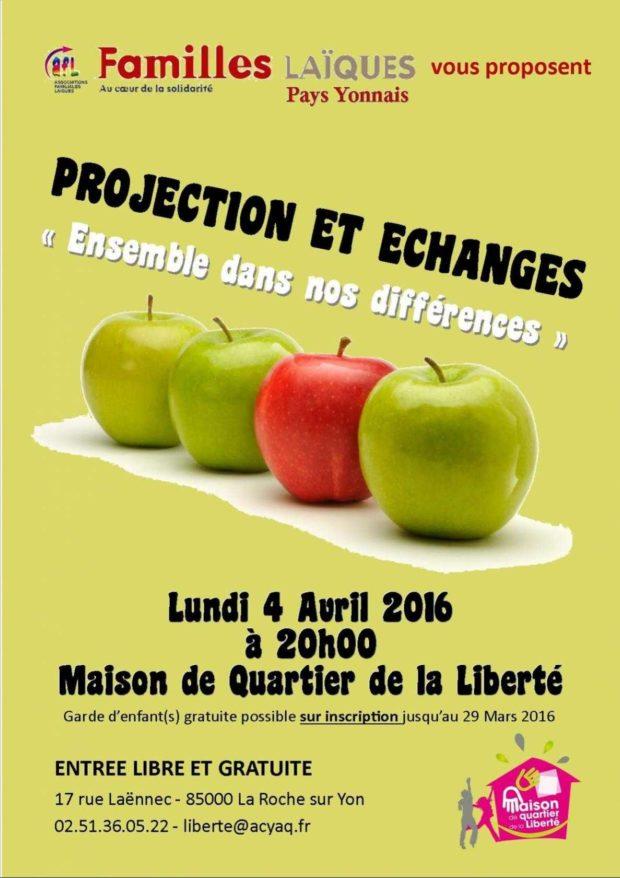 Projection et échanges : Ensemble dans nos différences La Roche-sur-Yon