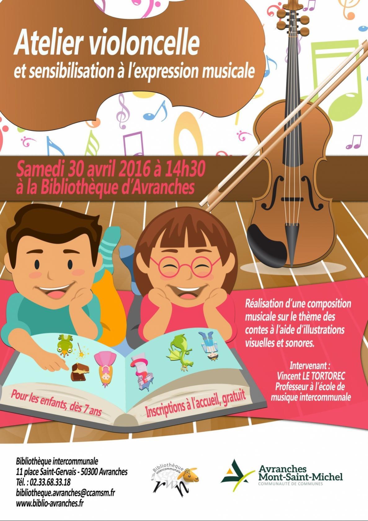 Atelier violoncelle et sensibilisation à l'expression musicale Avranches