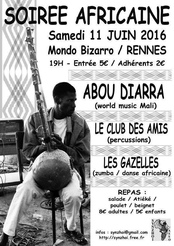 Abou Diarra (afro-world) percussion et danse africaine, repas. Rennes