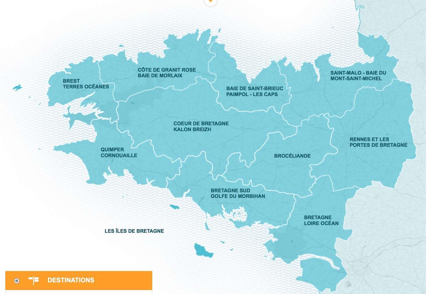 Carte Bretagne Broceliande.Carte 10 Destinations Touristiques Pour La Bretagne