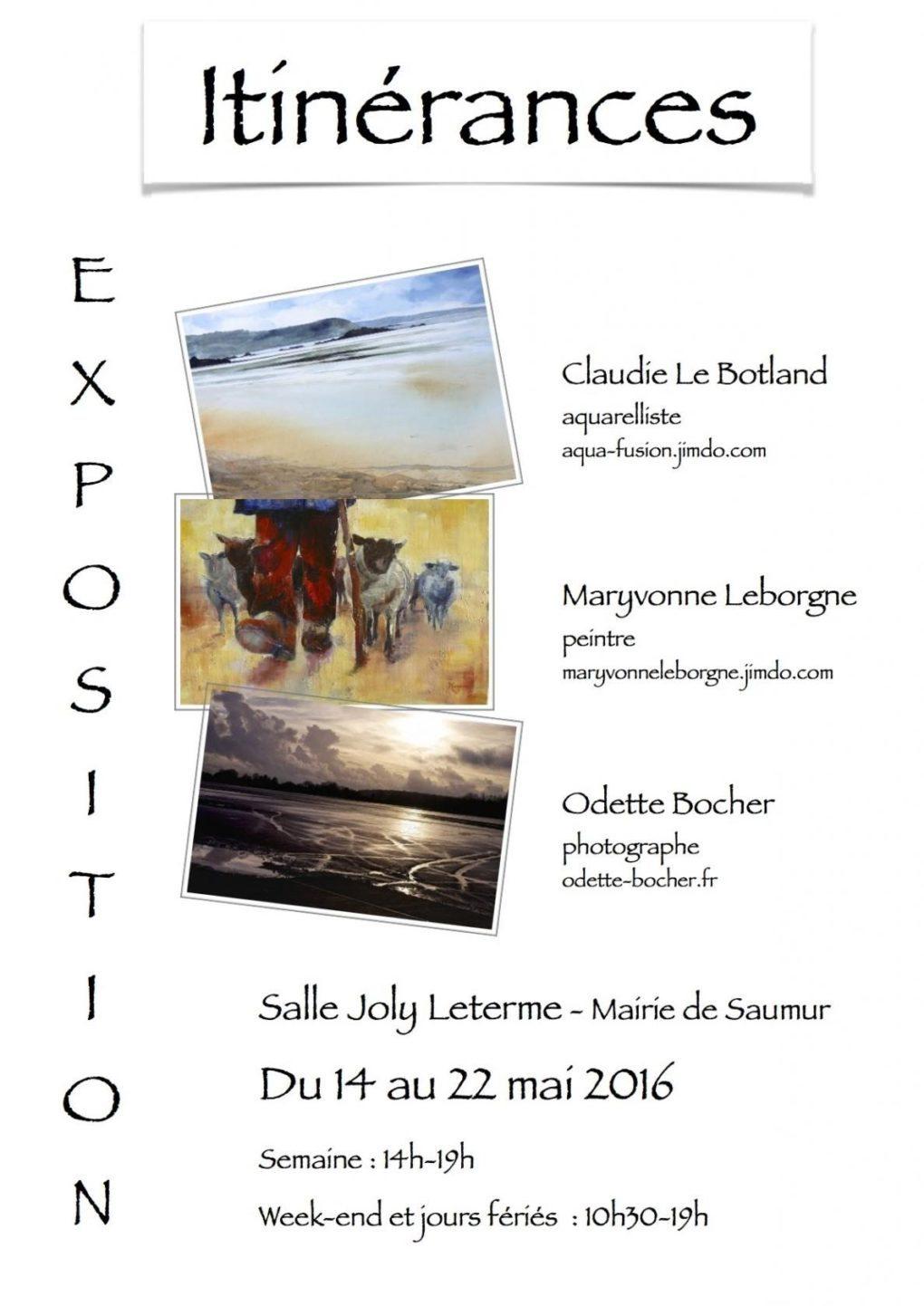 Exposition aquarelles, photos, peintures Itinérances Saumur