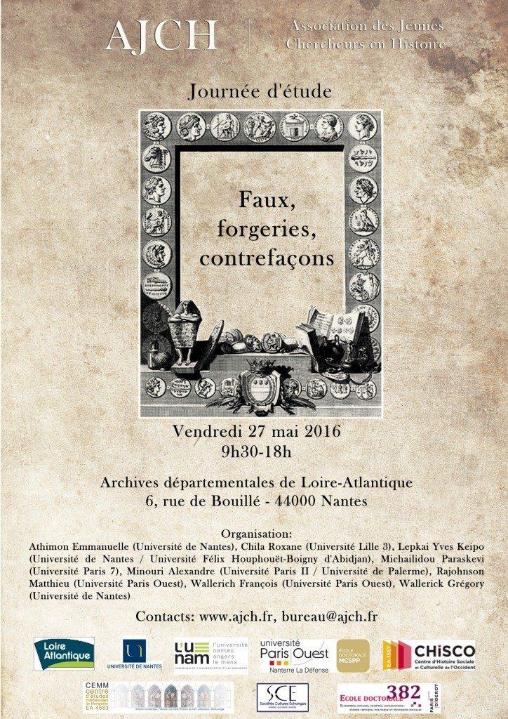 Faux, forgeries, contrefaçons. Journée d'études de l'AJCH Nantes