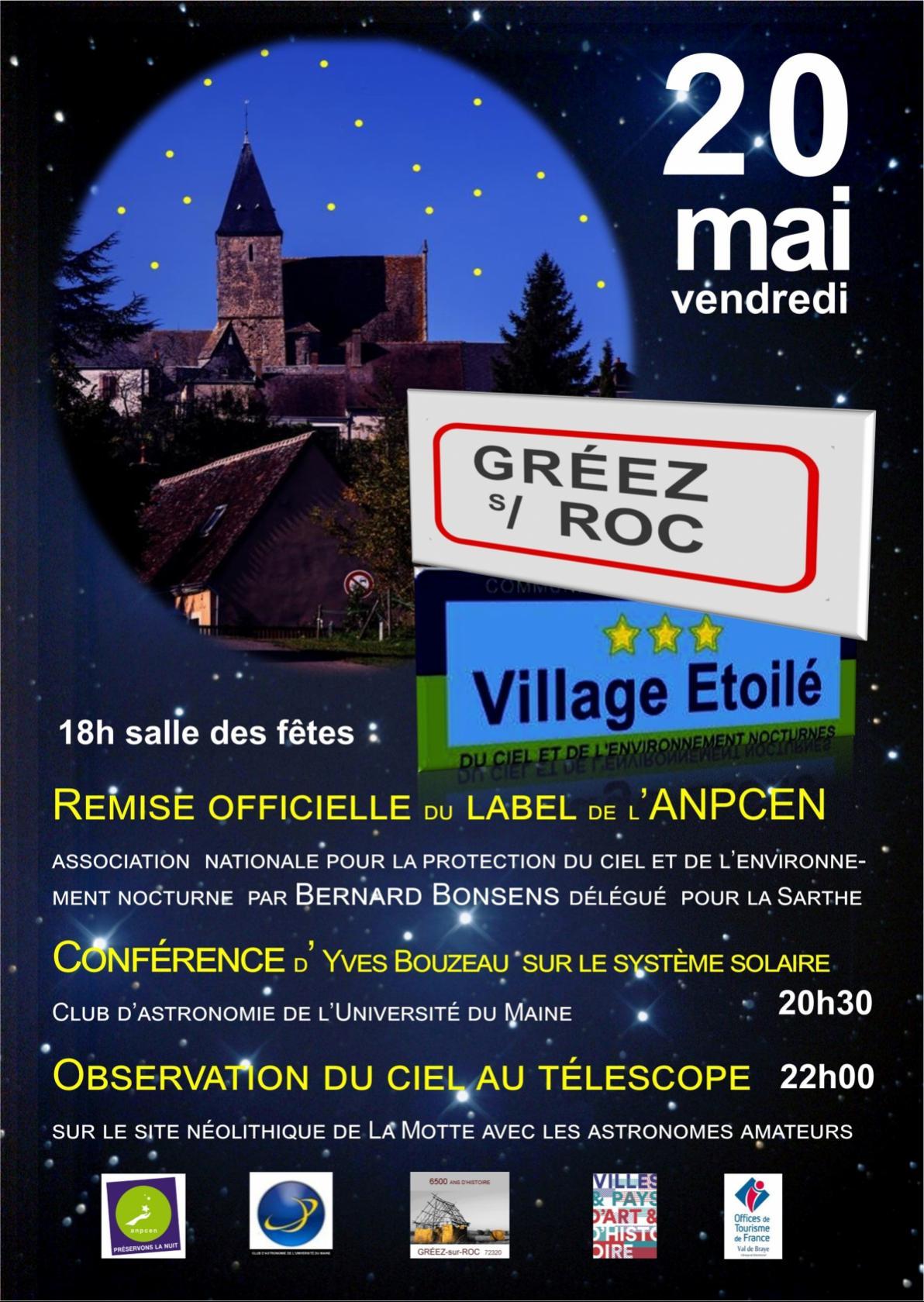 Gréez village étoilé : remise du label, conférence et observation Gréez-sur-Roc