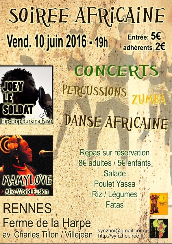 Mamylove (Afro-World), zumba, danse et percussion africaine, repas Rennes