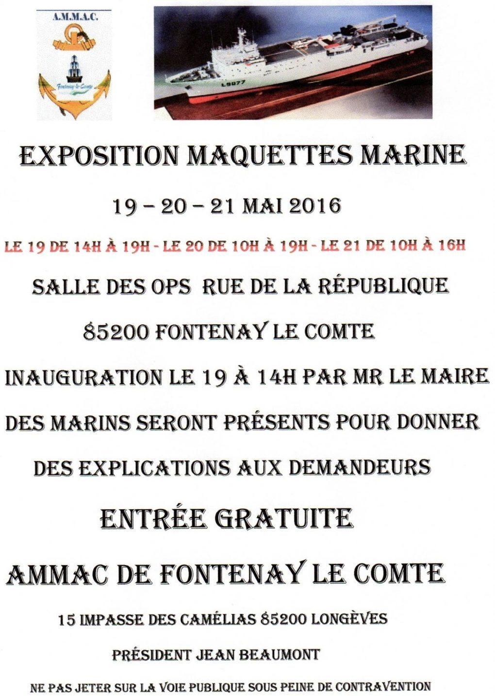 Maquettes de bateaux de la marine nationale et de la pêche Fontenay-le-Comte