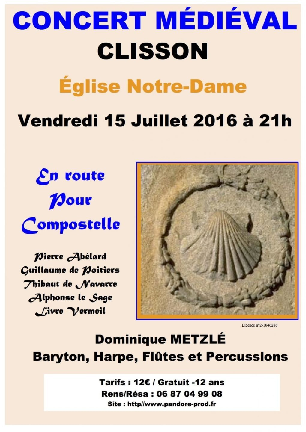 Concert Médiéval En Route pour Compostelle (Voix et Harpe) Clisson