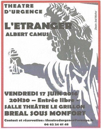 L'étranger Camus - adaptation d'Alain Morel (entrée libre) Bréal-sous-Montfort