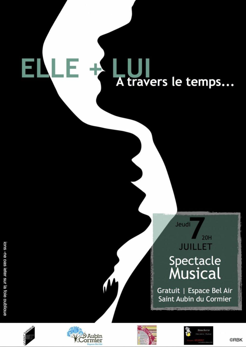 Elle + Lui (à travers le temps) spectacle musical gratuit Saint-Aubin-du-Cormier