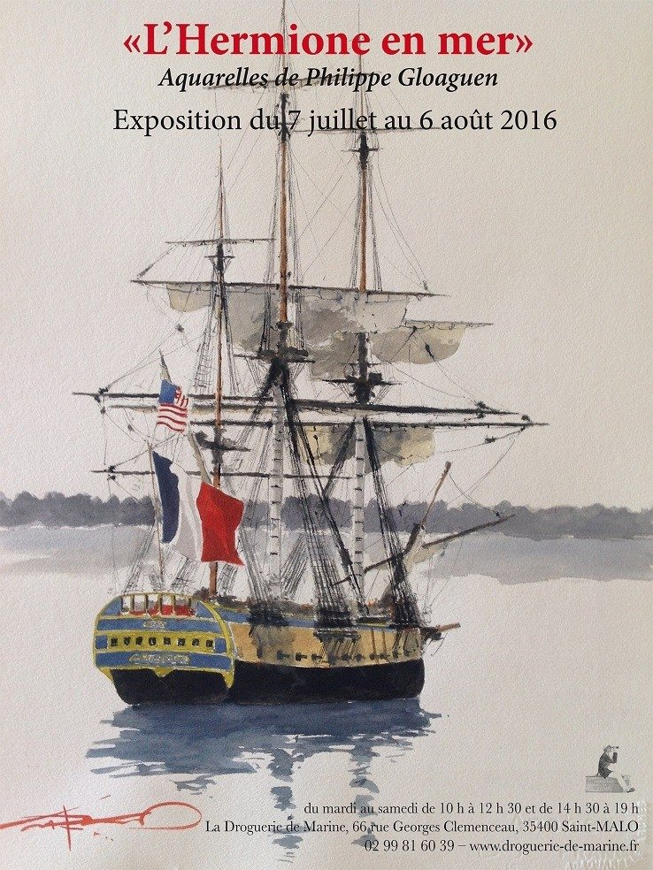 L'Hermione en mer exposition-vente d'aquarelles Saint-Malo