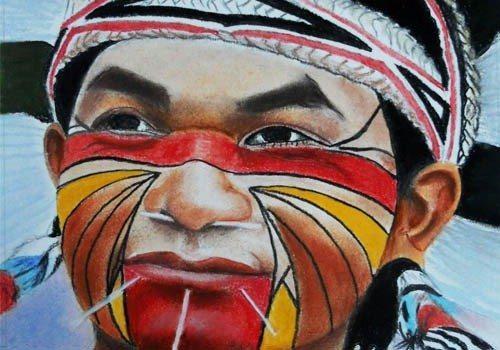 Les Indiens d'Amazonie pastels d'Alain Houal Malestroit