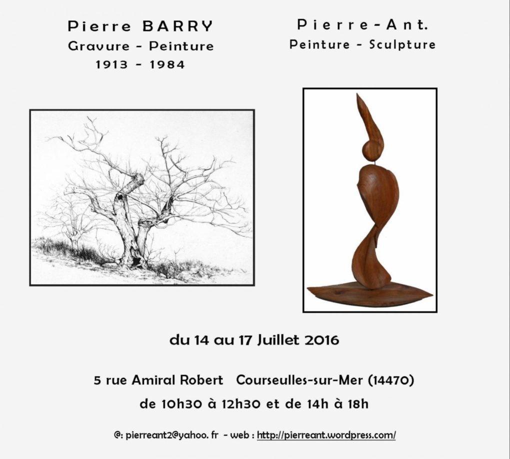 Pierre Barry gravure-peinture et Pierre-Ant peinture-sculpture Courseulles-sur-Mer
