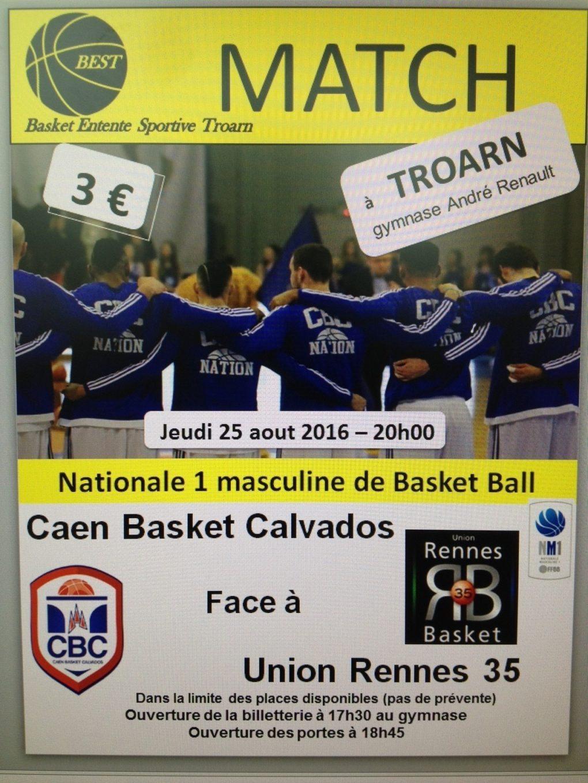 Basket ball national 1 masculine match de pré-saison CBC-Rennes Troarn