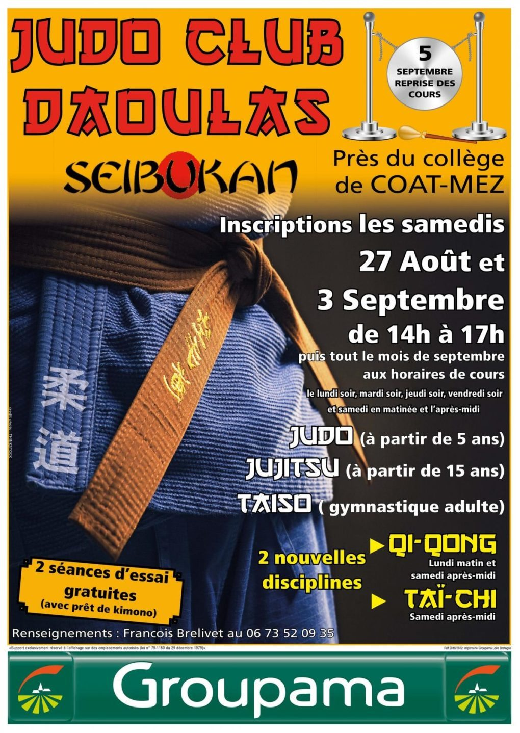 Inscriptions au Judo Dirinon