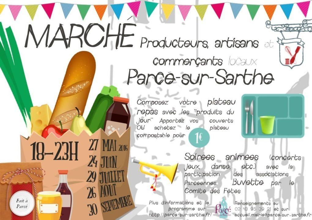 Marché local et animé Parcé-sur-Sarthe