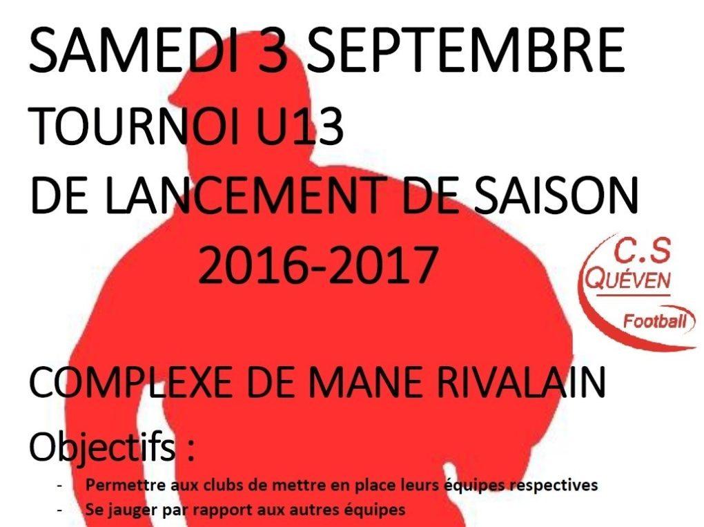 Tournoi football U13 de lancement de saison Quéven