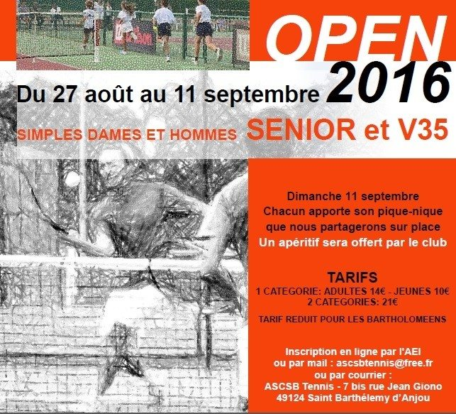 Tournoi open 2016 Saint-Barthélemy-d'Anjou