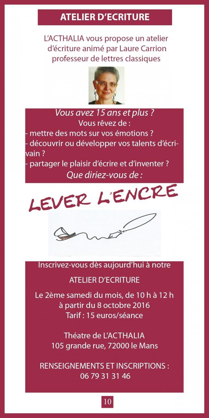 Atelier d'écriture Lever l'encre par Laure Carrion Le Mans