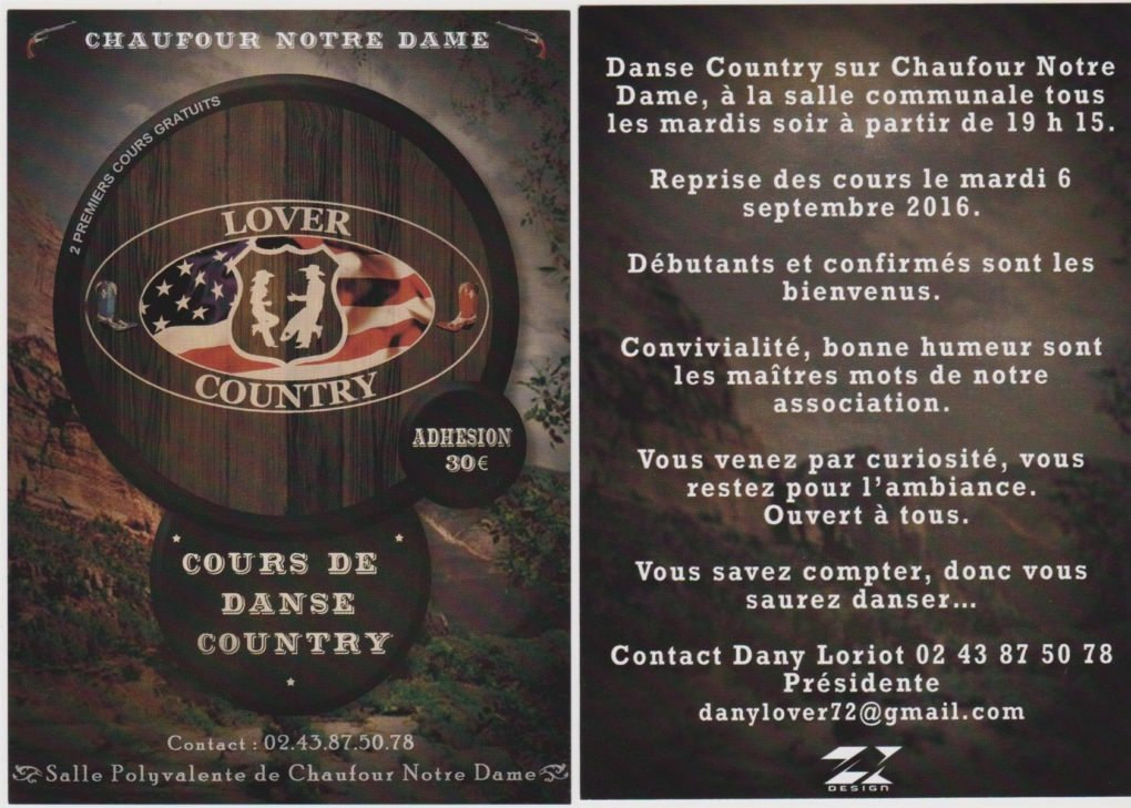 Cours de danse country avec l'association Lover country Chaufour-Notre-Dame