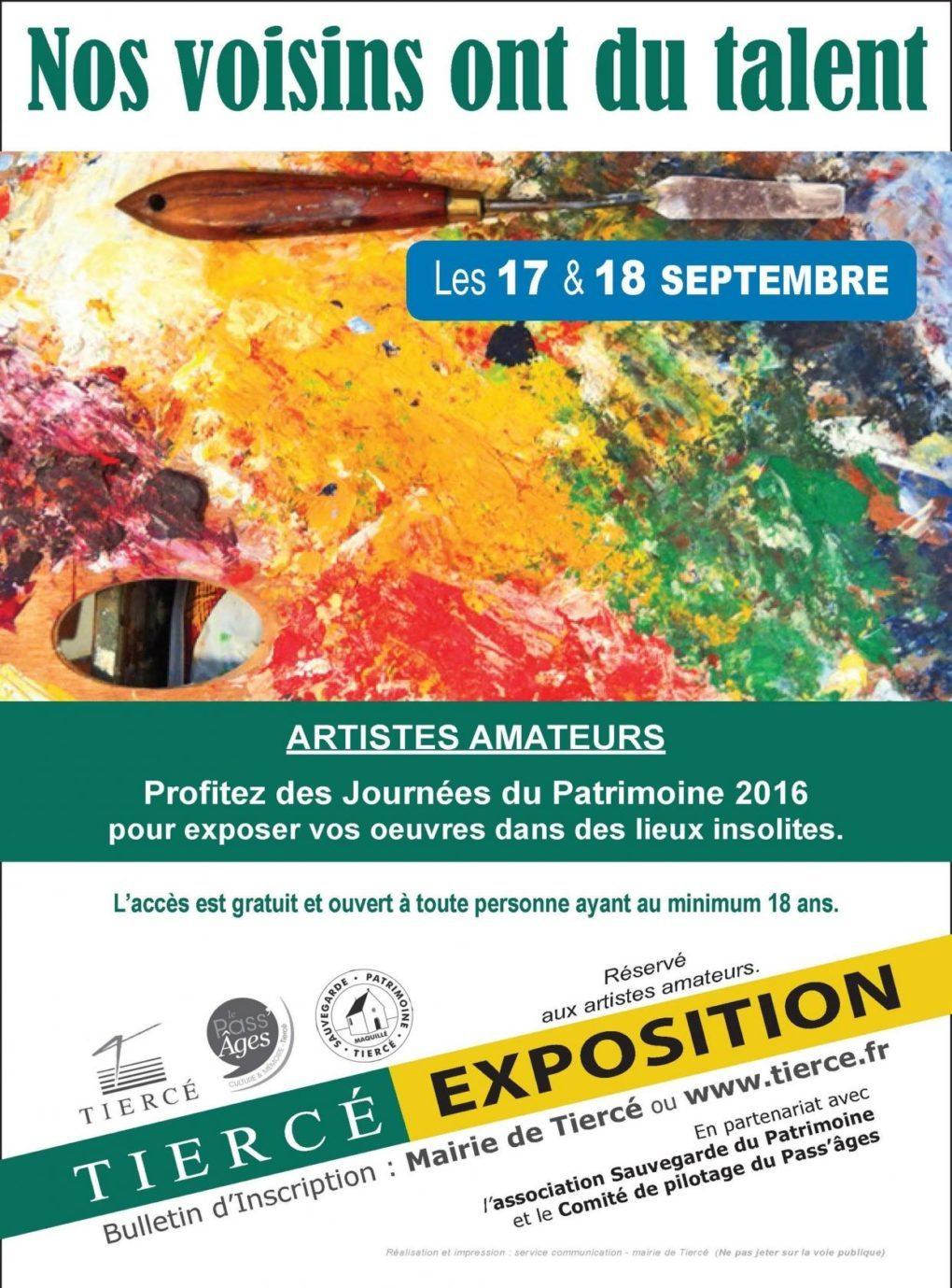 Journées du Patrimoine : exposition d'artistes amateurs Tiercé