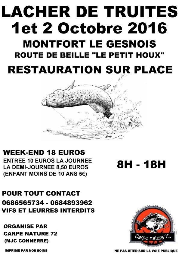 Lâcher de truites Montfort-le-Gesnois