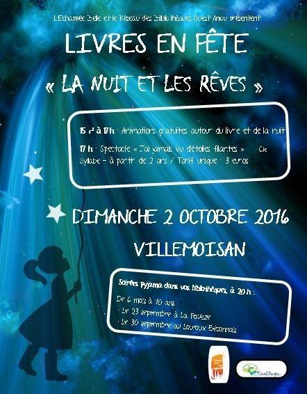 Livres en fête : animations autour de la Nuit et des rêves Villemoisan