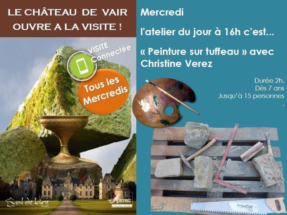 Peinture sur tuffeau avec Christine Verez Vair-sur-Loire