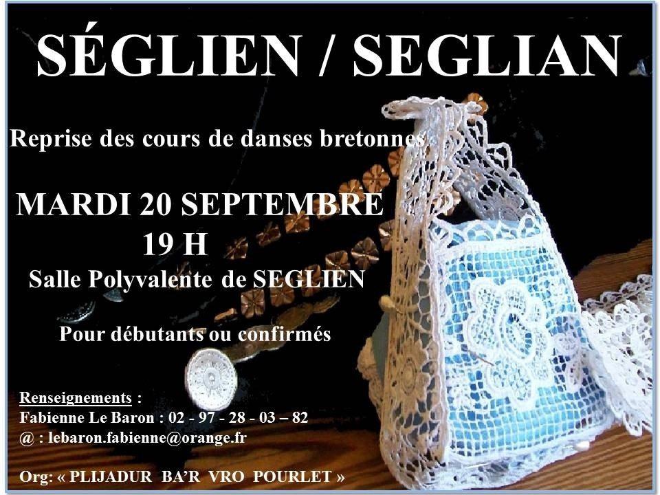 Plijadur Ba'r Vro Pourlet : reprise des cours de danses bretonnes Séglien