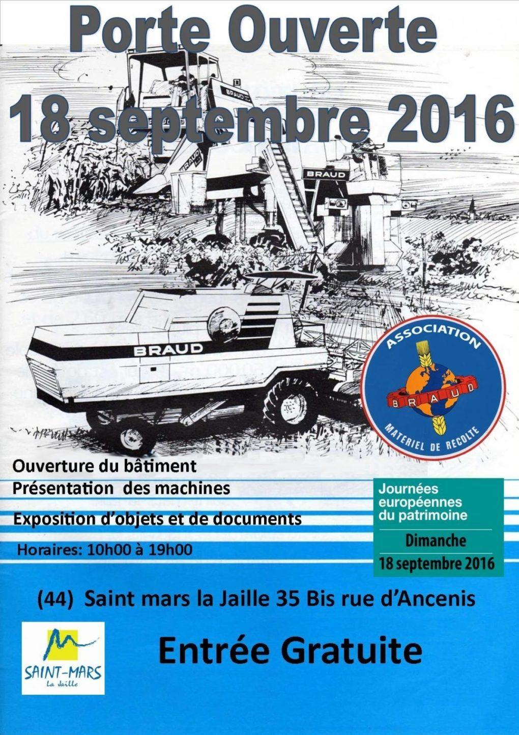 Porte ouverte de l'association braud materiel de recolte Saint-Mars-la-Jaille