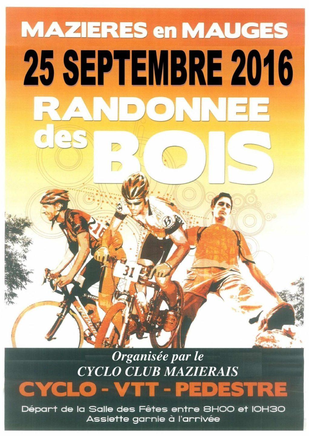 Randonnée des bois : circuits pédestres, cyclos et VTT Mazières-en-Mauges