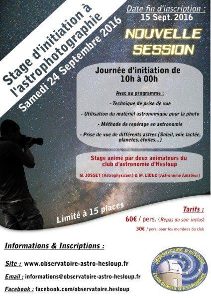 Stage d'initiation à l'astrophotographie - Nouvelle session Héloup