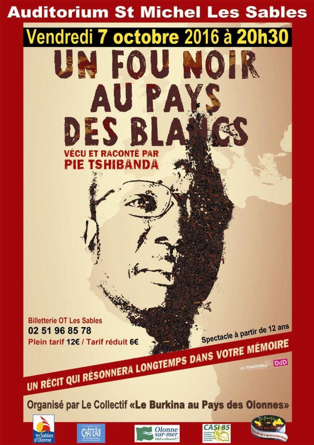 Un fou noir au pays des blancs par Pie Tshibanda Les Sables-d'Olonne