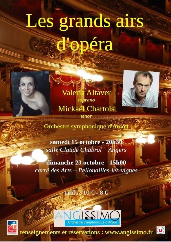 Les grands airs d'opéra , Valéria Altaver et Mickaël Chartois Angers