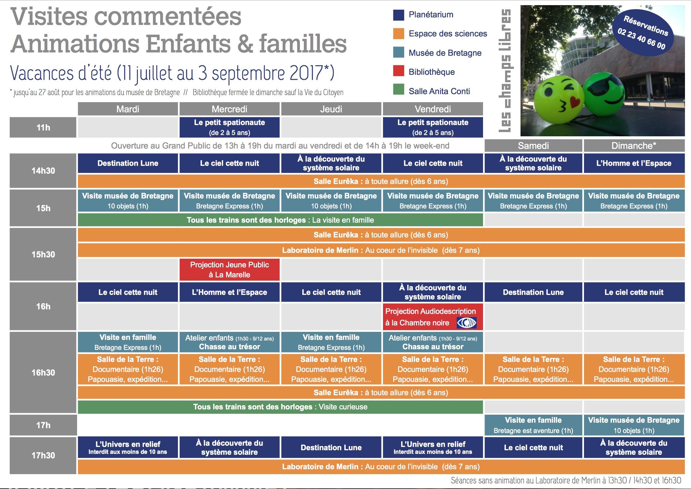 Rennes Champs libres programme juillet et août 2017