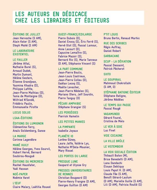 Auteurs éditeurs libraires rue des livres