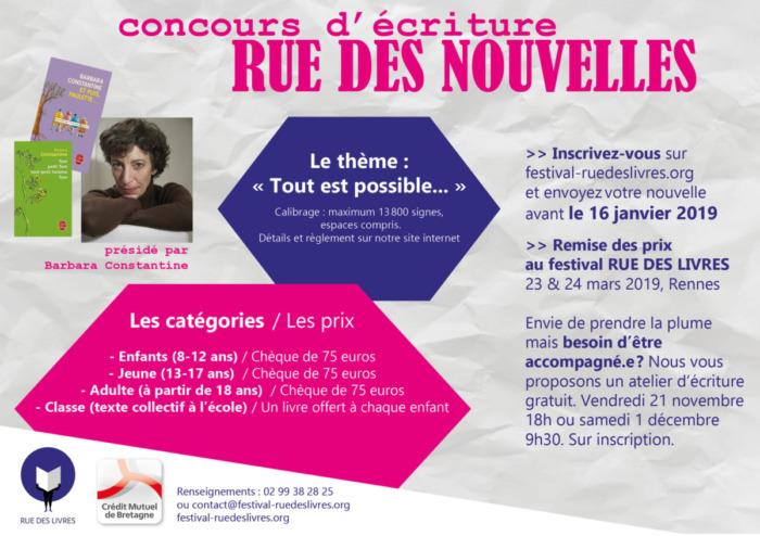 Concours d'écriture Rue des nouvelles Rue des livres