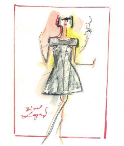 Croquis petite robe noire par Karl Lagerfeld