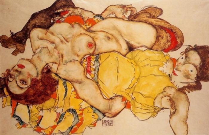 Egon Schiele Couple de femmes amoureuses