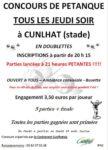 Concours de petanque - Cunlhat stade de Cunlhat